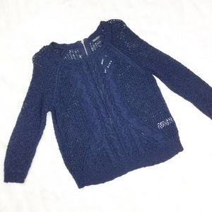 NWT Lucky Brand Navy Zipper Sweater sz. Large